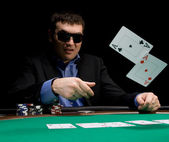 Fold in poker with two aces — Stock Photo