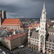 Munich Marienplatz at storm - Stock Photo