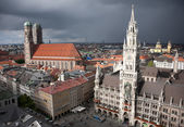 Munich Marienplatz at storm — Stock Photo