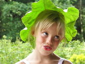 Portrait of a blonde girl with extraordinary Headdress — Stock Photo