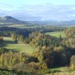 Eildon Hills from Scotts View with river Tweed - Stock Photo