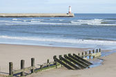 Spittal beach and pier with lighthouse — Stockfoto