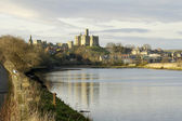 Warkworth Castle and river Aln — Stock Photo