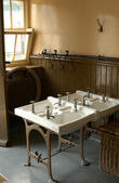 Old school cloakroom — Stock Photo