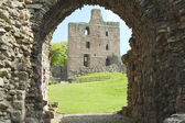 Norham Castle and tower through the entrance gate — Stock Photo