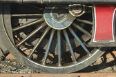 Detail of locomotive wheel with spokes — Stock Photo