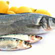 Lubina y sardinas con limones - Stock Photo