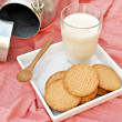 Bodegon de leche con galletas — Stock Photo
