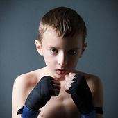 Training of the young boxer — Stock Photo