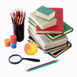 School subjects on a white background — Stock Photo