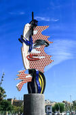 Barcelona's Head - A sculpture by Roy Lichtenstein in Barcelona — Stock Photo
