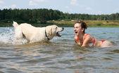 Funny dog witn girl — Stock Photo