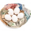 Eggs with money in basket — Stock Photo