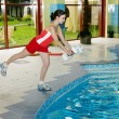 Aqua aerobic woman instructor — Stock Photo