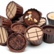 Mixed Chocolates heap on white — Stock Photo #7879596
