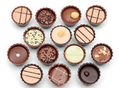 Mixed Chocolates on white — Stockfoto