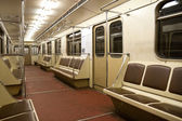Inside of empty train in Moscow metro — Stok fotoğraf