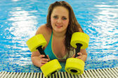 Woman in aqua aerobic — Stock Photo