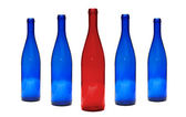 Red and Blue glass bottles — Stock Photo
