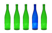Green and Blue glass bottles — Stock Photo