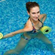 Girl in aqua fitness aerobic - Stok fotoraf