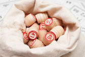 Bag with lotto-casks — Stock Photo