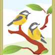 Stock Vector: Birds Titmouse
