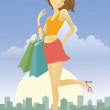 Stock Vector: Happy young woman after shopping in the city