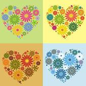 Four flower heart — Stock Vector