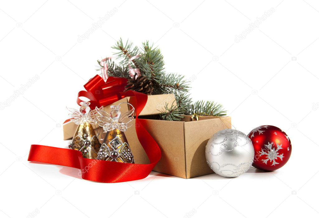 A lot of Christmas toys in a box — Stock Photo #7783543
