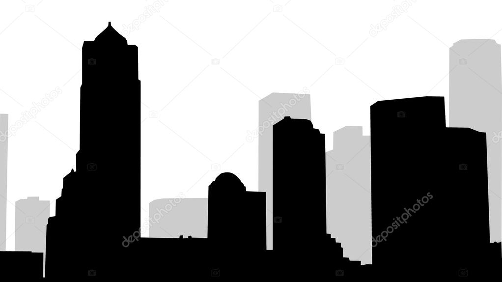 Ìixed silhouettes of modern city on white — Stock Photo #7784589