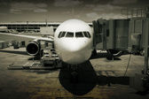 Jet at Airport Gate — Stock Photo