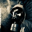 Man wearing gas mask — Stock Photo