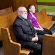 Happy Senior White Man Young Woman Sitting Church - Stock Photo
