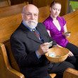 Older Man Young Woman Donating Church Offering — Stock Photo #7893317