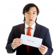 Shocked Asian Man Suit Holding Foreclosure Notice — Stock Photo