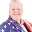 Patriotic Senior Man Wrap American Flag Isolated — Stock Photo