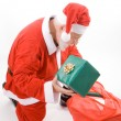 Santa Looking Sack Holding Present Gift Isolated — Stok fotoğraf