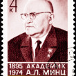 Canceled Soviet Russia Postage Stamp A. L. Mints, Researcher ABM - Stock Photo