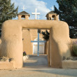Entrance Cross, San Francisco de Asis Church Mission Ranchos Tao - Stock Photo