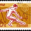 Stock Photo: Soviet Stamp Gymnast Performing Rhythmic Gymnastics Ribbon