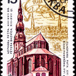 Soviet Russia Postage Stamp St. Peter&#039;s Church, Riga, Latvia - Stock Photo