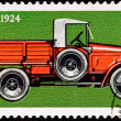 Canceled Soviet Russia Postage Stamp Side View Antique Truck - Stock Photo