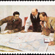 Soviet Russia Postage Stamp Lenin Planning Battle Strategy Map - Stock Photo