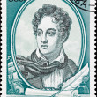 Soviet Russia Postage Stamp British Poet Lord Byron, Ship - Stock Photo
