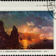 Russia Postage Stamp Painting Aivazovski Ship Sunset Rocks — Stock Photo