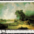 Stock Photo: Soviet RussiPostage Stamp Alexei Savrasov Field, River, Clouds