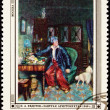 Canceled Soviet Russia Postage Stamp Pavel Fedotov Man Study Dog - Stock Photo