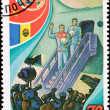 Stock Photo: Soviet Postage Stamp Cosmonauts Exit Airplane Press Conference