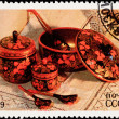 Canceled Soviet Russia Postage Stamp Khokhloma Lacquer Bowl Spoo — Stock Photo